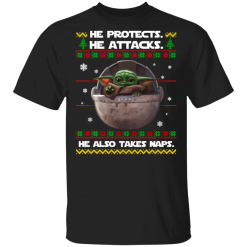 Baby Yoda he protects he also takes naps Christmas sweater - TheTrendyTee